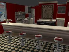 50s diner 50s Diner, American Diner, Cafe Design, Diners, Sims 2, Miniature, Vanity, Retro, Furniture