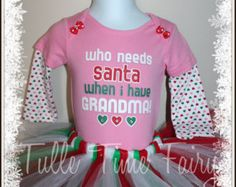 Baby's First 1st Christmas Who needs Santa Bodysuit Onesie tutu dress outfit size 3-6 months  free bow headband included