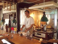 """Mr. Nomura, owner of café and gallery """"Tenshinan"""" in Bunka 1-chome."""