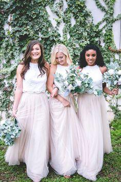 Skylar Skirt Sample in Tulle Bridesmaid Separates Two Piece Bridesmaid Dresses, Tulle Skirt Bridesmaid, Bridesmaid Separates, Blue Bridesmaids, Wedding Bridesmaids, Wedding Gowns, Bridesmaid Ideas, Wedding Skirt, Bridesmaid Inspiration