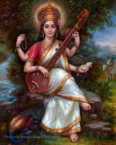 God number 25 goddess of knowledge and music and wife of Brahma saraswati devi Saraswati Mata, Saraswati Goddess, Jai Maa Saraswati, Kali Shiva, Indian Goddess, Goddess Art, Indian Paintings, Art Paintings, Watercolor Paintings