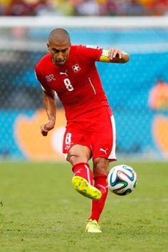 Gokhan Inler of Switzerland controls the ball during the 2014 FIFA World Cup Brazil Group E match between Honduras and Switzerland at Arena Amazonia on June 25, 2014 in Manaus, Brazil.