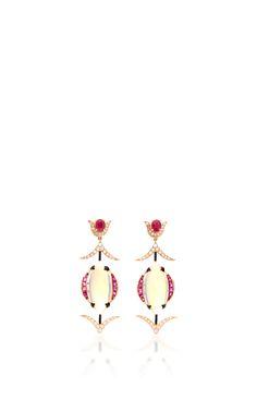 Mystical Opal Earrings by HANUT SINGH in 18k gold, opals, rubies and diamonds. (=)