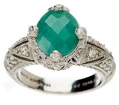 Add a little sparkle to your style with this@Judith Ripka Sterling 1.80 cttw #Emerald Solitare Ring.