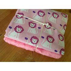 Michael Miller Mini Lions in pink & hot pink plush