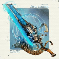 Anime Weapons, Sci Fi Weapons, Weapon Concept Art, Fantasy Weapons, Fantasy Sword, Fantasy Character Design, Character Concept, Character Art, Dungeons And Dragons Homebrew