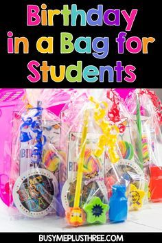 Are you looking for a fun summer project before you start back to school? These fun birthday bags are perfect for celebrating student birthdays. Student Birthday Gifts, Birthday Bag, Happy Birthday, Teacher To Student Gifts, Classroom Birthday Treats, Birthday Ideas, Birthday Display, Teacher Hacks, Kindergarten Classroom