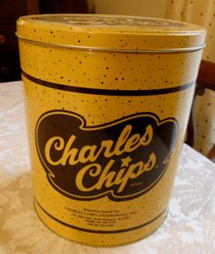 Vintage Charles Chips Can by WhiteShepherd on Etsy, $11.75