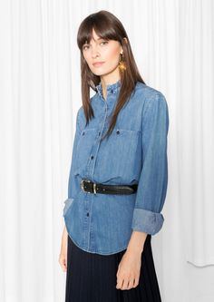 & Other Stories image 2 of Ruffle Collar Chambray Shirt in Blue Reddish