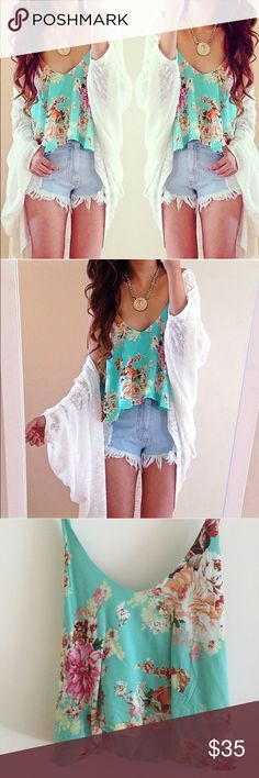 Mint flowy crop top Brand new never worn mint flowy crop tank top with floral pattern Tops Crop Tops