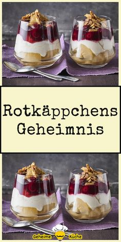 Rotkäppchens Geheimnis Mini Desserts, Summer Desserts, Christmas Desserts, Healthy Desserts, Delicious Desserts, Yummy Food, Dessert Sauces, Dessert Recipes, Vegan Ice Cream
