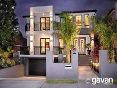 Concrete modern house exterior with balcony & decorative lighting - House Facade photo 189247