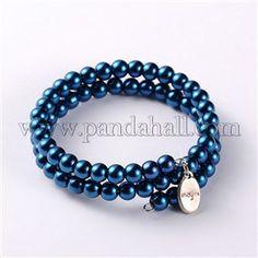 Glass Pearl Beads 2-loops Wrap BraceletsBJEW-JB01709-06-1