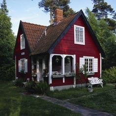 Tiny red cottage