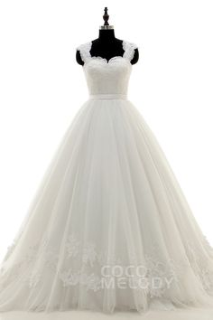 Perfect Queen Anne Train Tulle Ivory Sleeveless Wedding Dress with Appliques LWLT15034