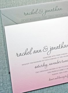 Rachel Pink Ombre Wedding Invitation with Charcoal Gray Envelope and Beautiful Script Font