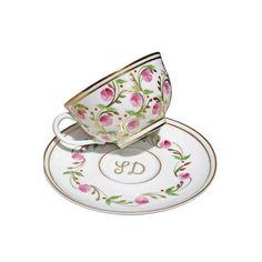 Pompadour Tea Cup and Saucer   Laure Sélignac