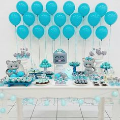 The color coordination is fantastic! Baby Shower Deco, Shower Bebe, Baby Shower Balloons, Shower Party, Baby Shower Parties, Baby Shower Themes, Baby Boy Shower, Baby Showers, Frozen Birthday Party