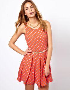 Orange Sleeveless Polka Dot Belt Chiffon Dress - Sheinside.com