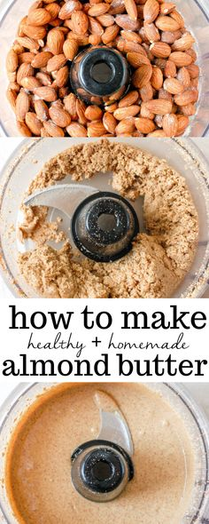 This easy recipe for homemade almond butter is simple. Learn how to make creamy and healthy almond butter in a food processor or blender with no oil required. Perfect for keto, vegan, and gluten-free eaters alike! - How to Make Homemade Almond Butter Fun Easy Recipes, Whole Food Recipes, Vegan Recipes, Easy Meals, Cooking Recipes, Almond Recipes, Cooking Tips, Vegan Keto, Pesto Vegan