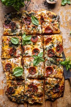 Easy Sheet Pan Tomato Herb Pizza | halfbakedharvest.com Sauce Pizza, Cooking Recipes, Healthy Recipes, Spinach Recipes, Paleo Food, Veggie Food, Vegetable Pizza, Cooking Tips, Little Lunch