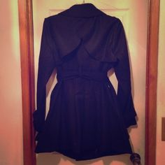 NWOT- Wool trench coat with belt & back pleats Thin wool coat, wear it from Autumn to early winter. Great coat for work or wear it casually. Runs small. No pockets and bottom half of coat is flared. Too small to model but will provide more pictures on request. Jackets & Coats Trench Coats