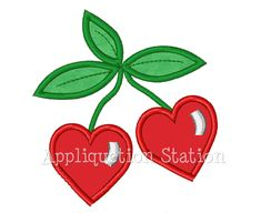 Heart Cherries Applique Machine Embroidery Design Download Personalized Cherry Summer Fruit. $3.25, via Etsy.