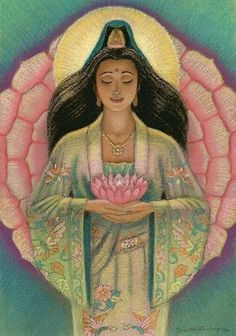 kuan yin of serenity - pink lotus heart