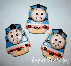 Thomas the Train Cookies- Curtis Curtis Hensley here is a project for Luke's Bday! These have the potential to top the Castle Cake! Thomas The Train Birthday Party, Trains Birthday Party, Train Party, Boy Birthday Parties, Birthday Desserts, 3rd Birthday, Birthday Ideas, Cookies For Kids, Cute Cookies