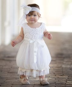 Another great find on #zulily! White Rosette Tulle Dress - Toddler & Girls #zulilyfinds