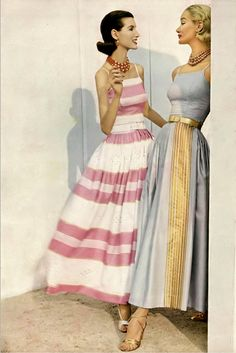 1956 Joan Romano (l) and Sunny Harnett in India colored silk shantung separates by Greta Plattry.