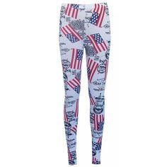 Hippe legging met print van de Amerikaanse vlag en diverse teksten. Deze legging is gemaakt van 95% viscose en 5% elastine.    http://www.lookinggoodtoday.com/dames-kleding/broeken-dames