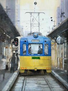 大阪 路面電車4,Osaka Streetcar 4,Original Watercolor painting by Masato Watanabe