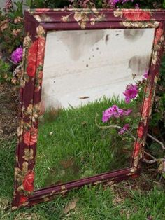 Fabric mod podge mirror: Anthropologie knockoff; step-by-step tutorial. (This would turn the boring oval wooden mirror I have hung in the entry hallway into something GORGEOUS. Much better than just paint.)
