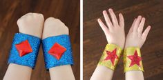Sparkly superhero cuffs from toilet paper tubes!