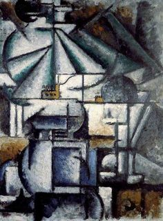 """Deconstruction of the Planes of a Lamp 1912-1914. Ardengo Soffici (1879 – 1964) was an Italian writer, painter & Fascist intellectual. In 1911 he wrote an article in La Voce on Picasso & Braque, which probably influenced the Futurists in the direction of Cubism. In 1912-1913 Soffici painted in a Cubist style. After visiting the Futurists' Exhibition of Free Art,  he wrote a hostile review but granted that, despite its faults, Futurism was """"a movement of renewal, and that is excellent""""."""
