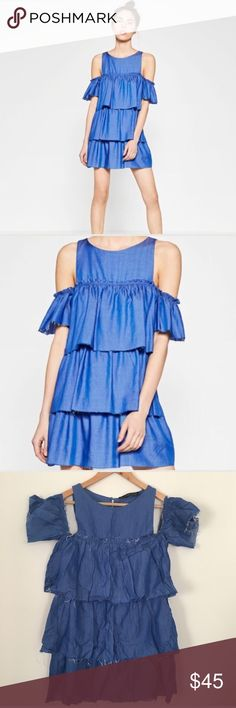 """Zara cold shoulder layered dress Cold shoulder layered dress by Zara. Lightweight blue denim like fabric with frayed edges. Hand wash. EUC. Pair with booties or gladiator sandals! From top to bottom is approx 33"""". Flirty Favorites Host Pick 5/17/17. Zara Dresses Mini"""