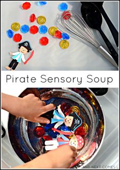 Pirate themed fine motor water sensory play for toddlers and preschoolers from And Next Comes L