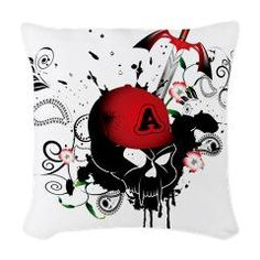 Skull with sword, Our custom throw pillows add a bit of elegance with a subtle sheen to make sofas, chairs and beds extra cozy.