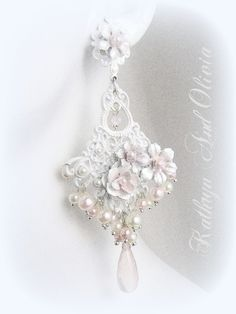 White Lace Chandelier Earrings with Flowers Rose Quartz Briolettes and Pearls