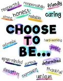 """""""Choose to Be You"""" Positive Character Traits Bulletin Board Be Bulletin Board, Character Bulletin Boards, School Themes, School Ideas, Tin Foil Art, School Stuff, Back To School, Positive Character Traits, Kindness Projects"""