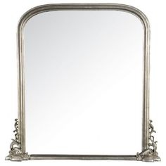 Georgiana Silver Gilt Leaf Bevelled Overmantle Mirror