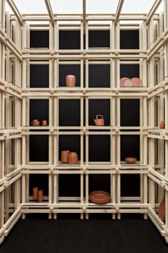 A Designer Updates a Centuries-Old Pottery Tradition Shelving Design, Shelf Design, Wall Design, Merci Store, R Cafe, Milan Design Week 2017, Old Pottery, Wood Structure, Retail Interior