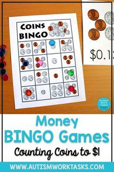 Math Bingo, Bingo Games, File Folder Activities, Math Activities, Money Bingo, Life Skills Classroom, Future Classroom, Teaching Money, Counting Coins