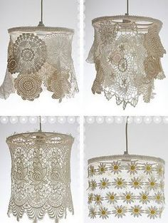 Lace pendant lights. Wrap lamp frame in cloth tape, sew lace to tape. So cute to go along with the one my mom made for me!