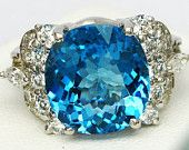 Sterling Silver Platinum Plated London Blue Topaz Ring Natural Real Size 6