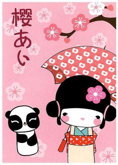 Aiko Kokeshi Doll Kawaii Postcard: Sakura Panda