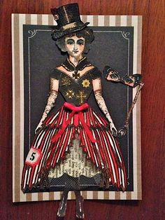 Sweet series of collages by Diana Frankel working with Character Constructions Cirque stamps and blackboard die cuts!