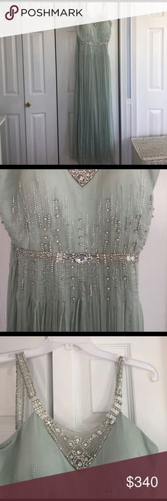 Vintage style sea foam green gown WORN ONCE! Sea foam green gown beaded straps, belt, and bodice. Floor length. 100% silk with lining. Cups sewn in for support. Mignon Dresses