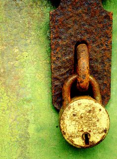 Rusty hasp and lock on green